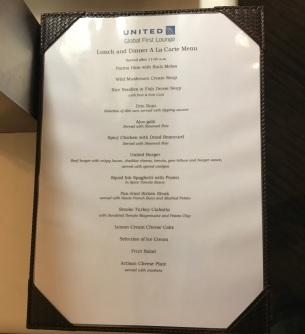 United Global First Lounge Menu - June 2017