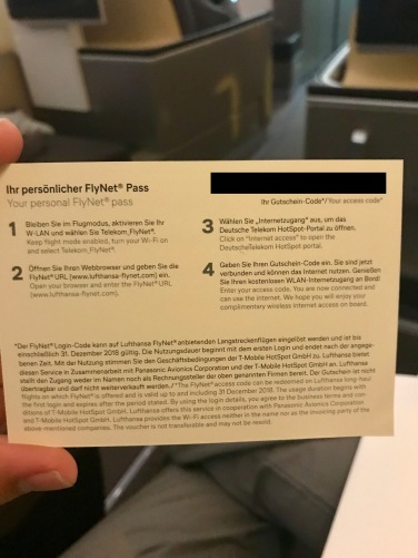 Lufthansa First Class Wifi Card